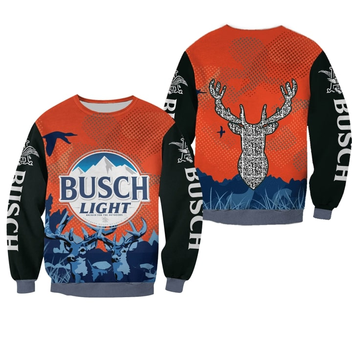 busch light beer deer all over printed ugly christmas sweater 3