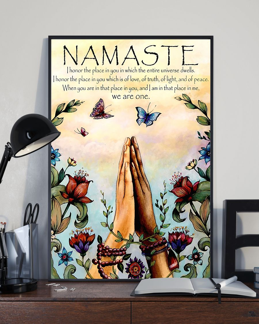 butterfly and flower yoga namaste prayer vintage poster 3