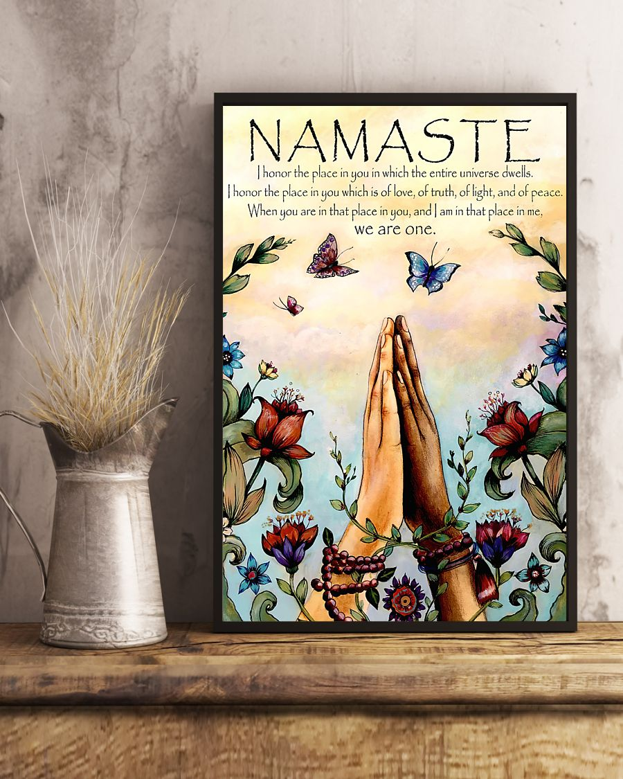 butterfly and flower yoga namaste prayer vintage poster 4