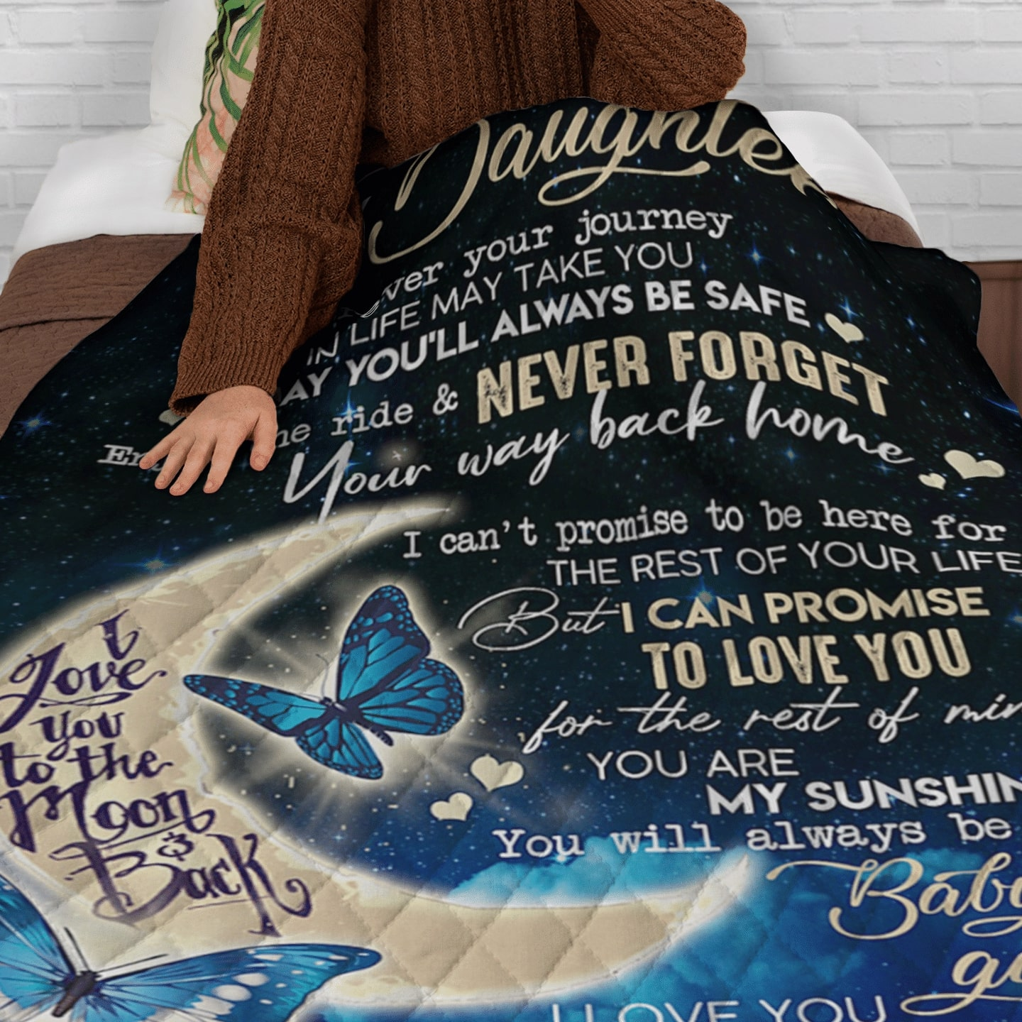 butterfly to my daughter i love you to the moon and back blanket 4