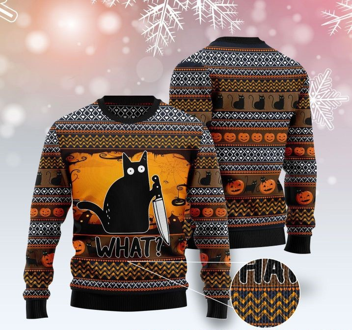 cat what murderous black cat with knife full printing ugly sweater 2