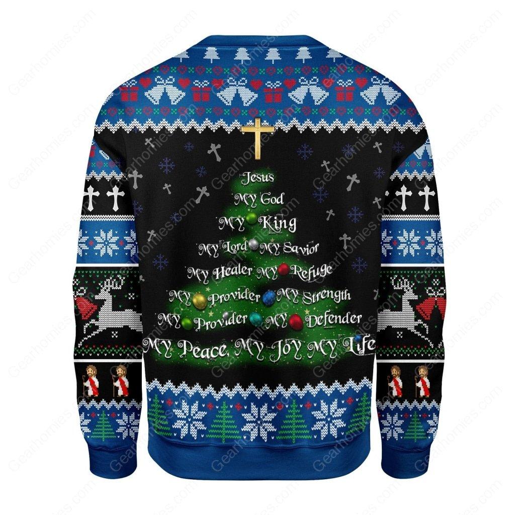 christmas tree Jesus my God my king all over printed ugly christmas sweater 4