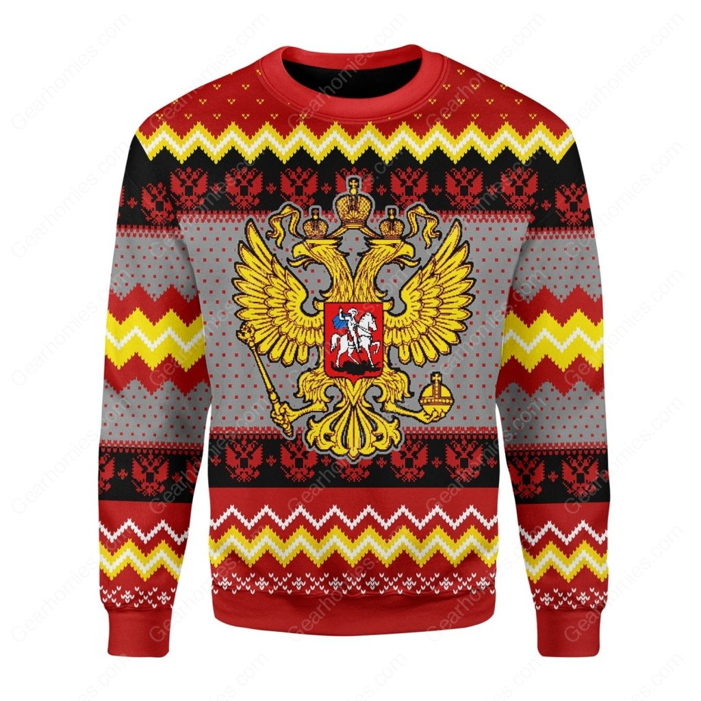 coat of arms of russia all over printed ugly christmas sweater 2