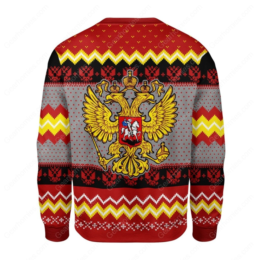 coat of arms of russia all over printed ugly christmas sweater 4