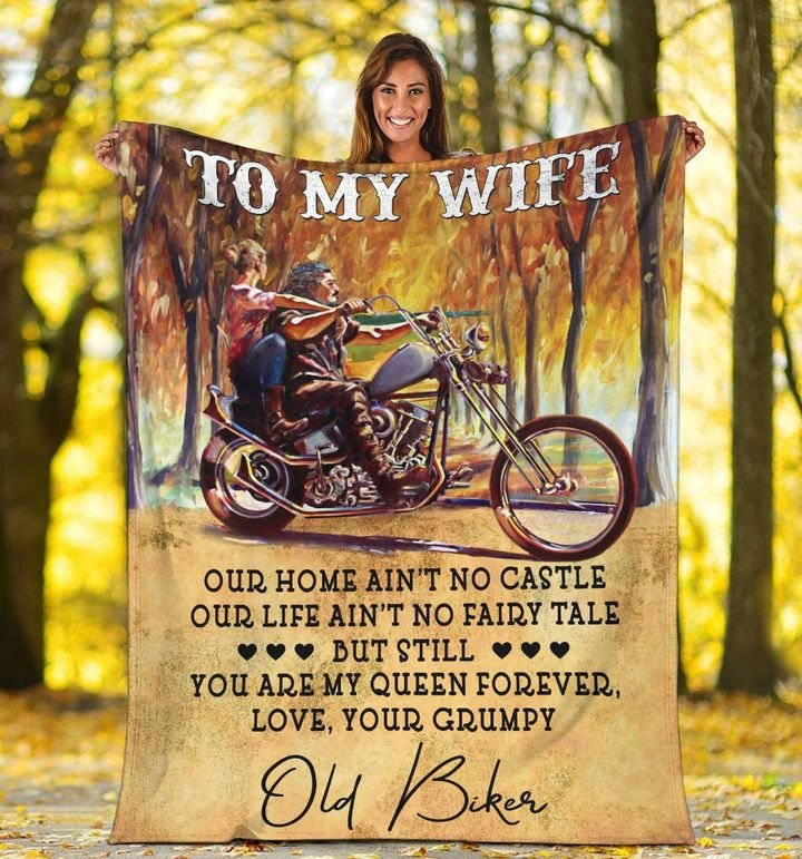 couple biker to my wife you are my queen forever your grumpy blanket 5