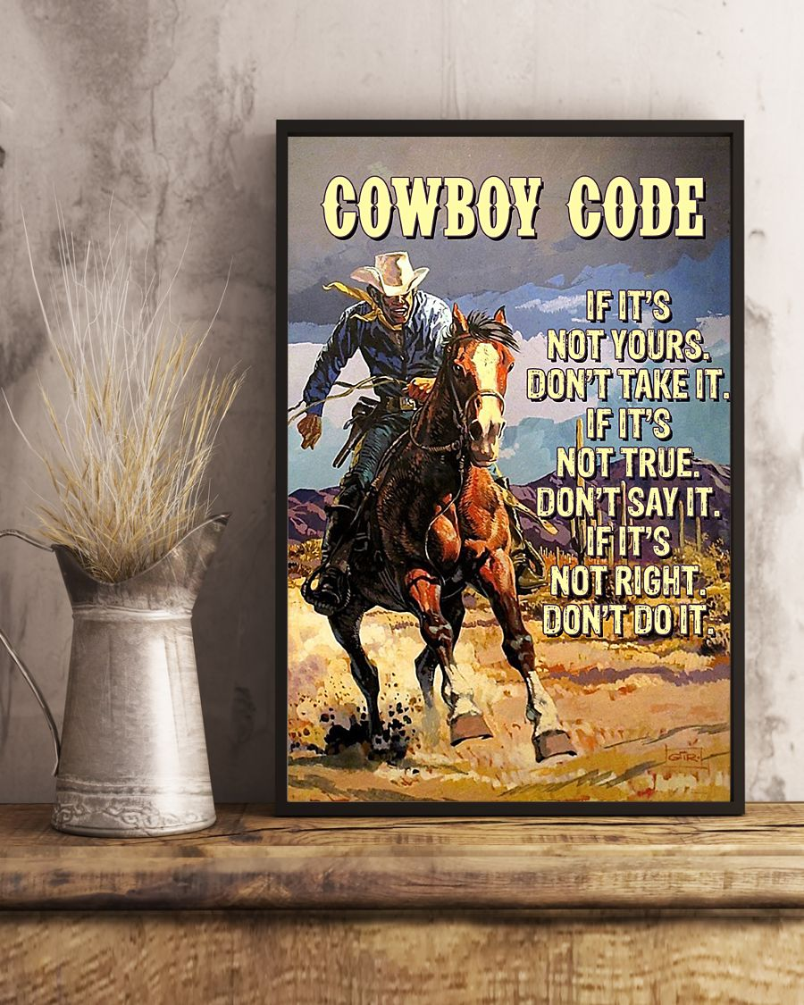 cowboy code if its not your dont take it if its not true dont say it vintage poster 4