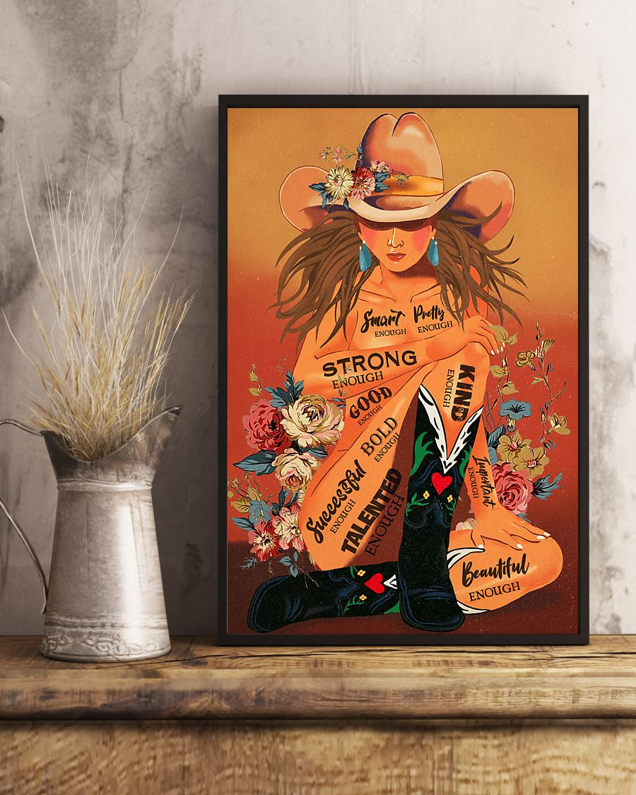 cowgirl i am smart enough strong enough kind enough vintage poster 3