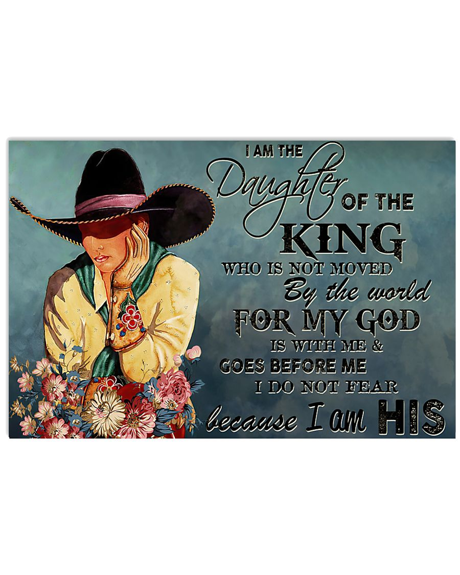 cowgirl i am the daughter of the king who is not moved be the world for my God vintage poster 1