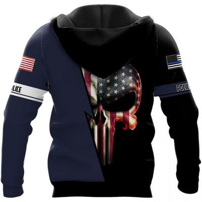 custom name law enforcement and police skull american flag camo full over printed hoodie 1
