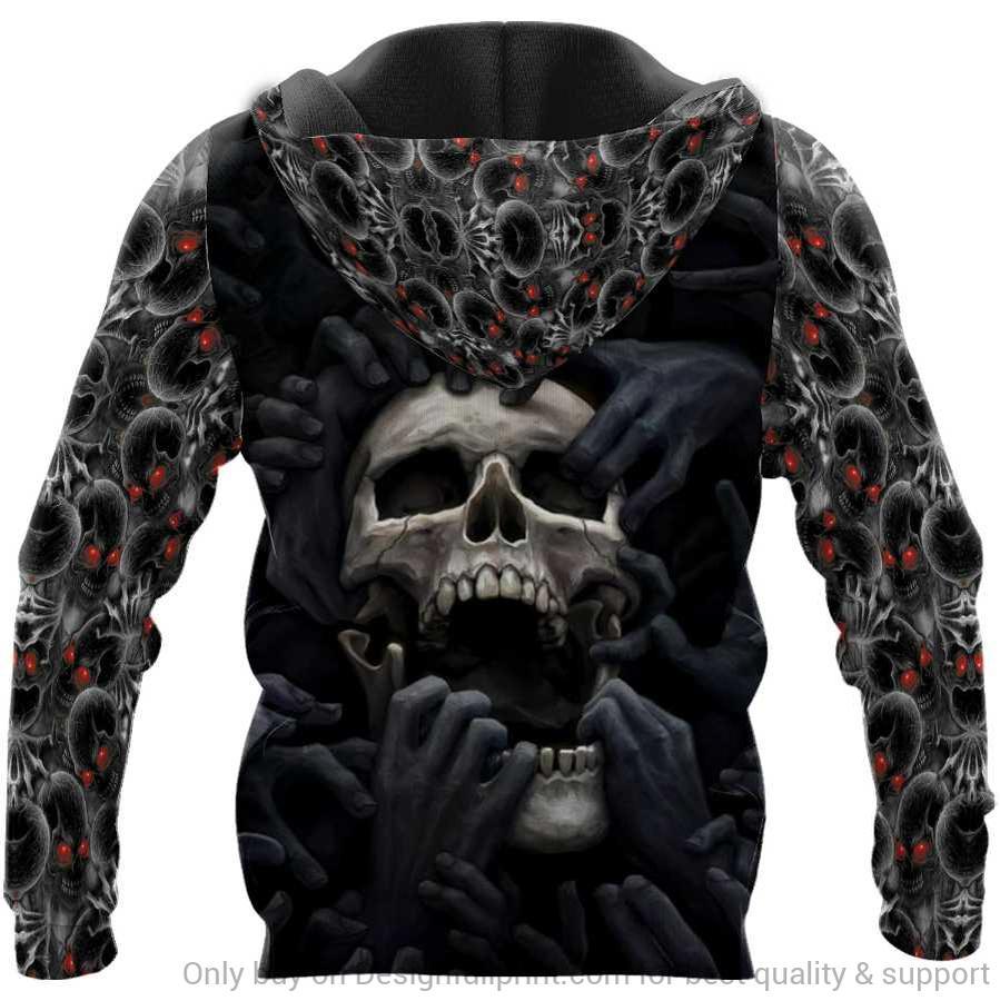 custom name skull red eyes screaming full over printed hoodie - back