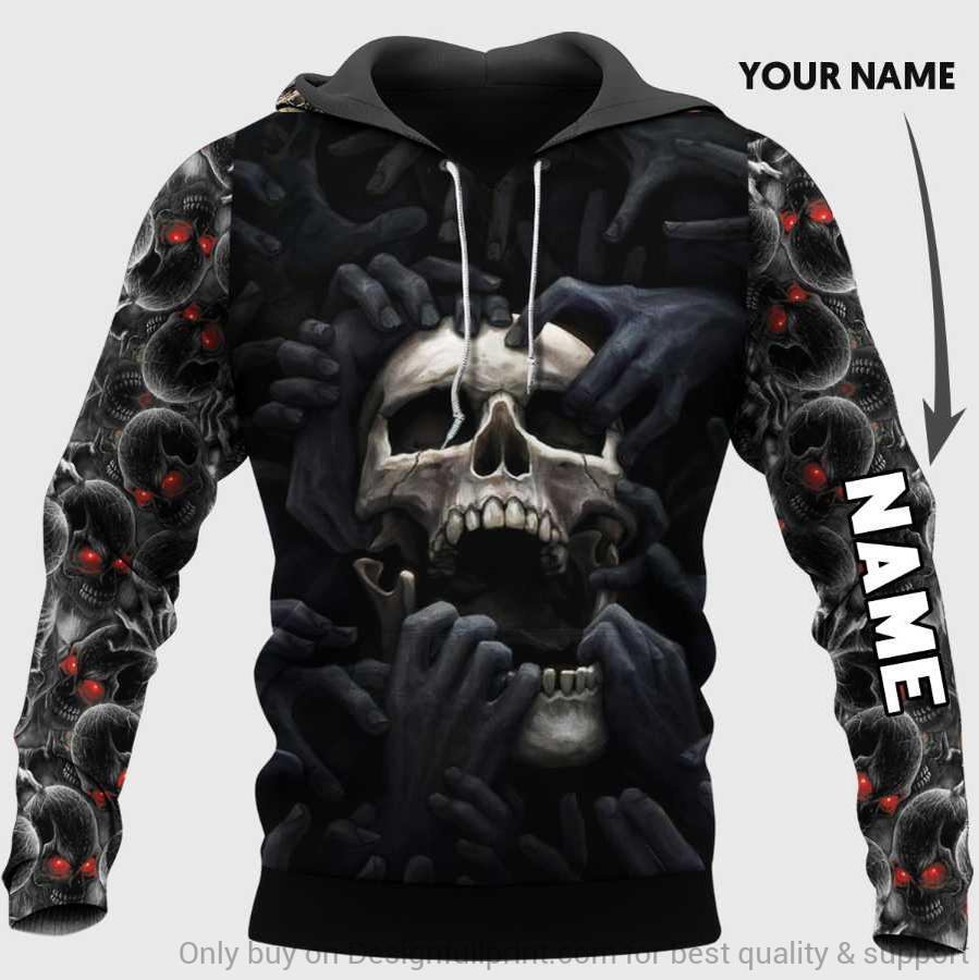 custom name skull red eyes screaming full over printed hoodie