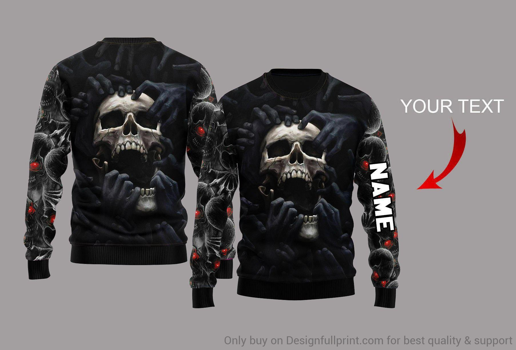 custom name skull red eyes screaming full over printed sweatshirt