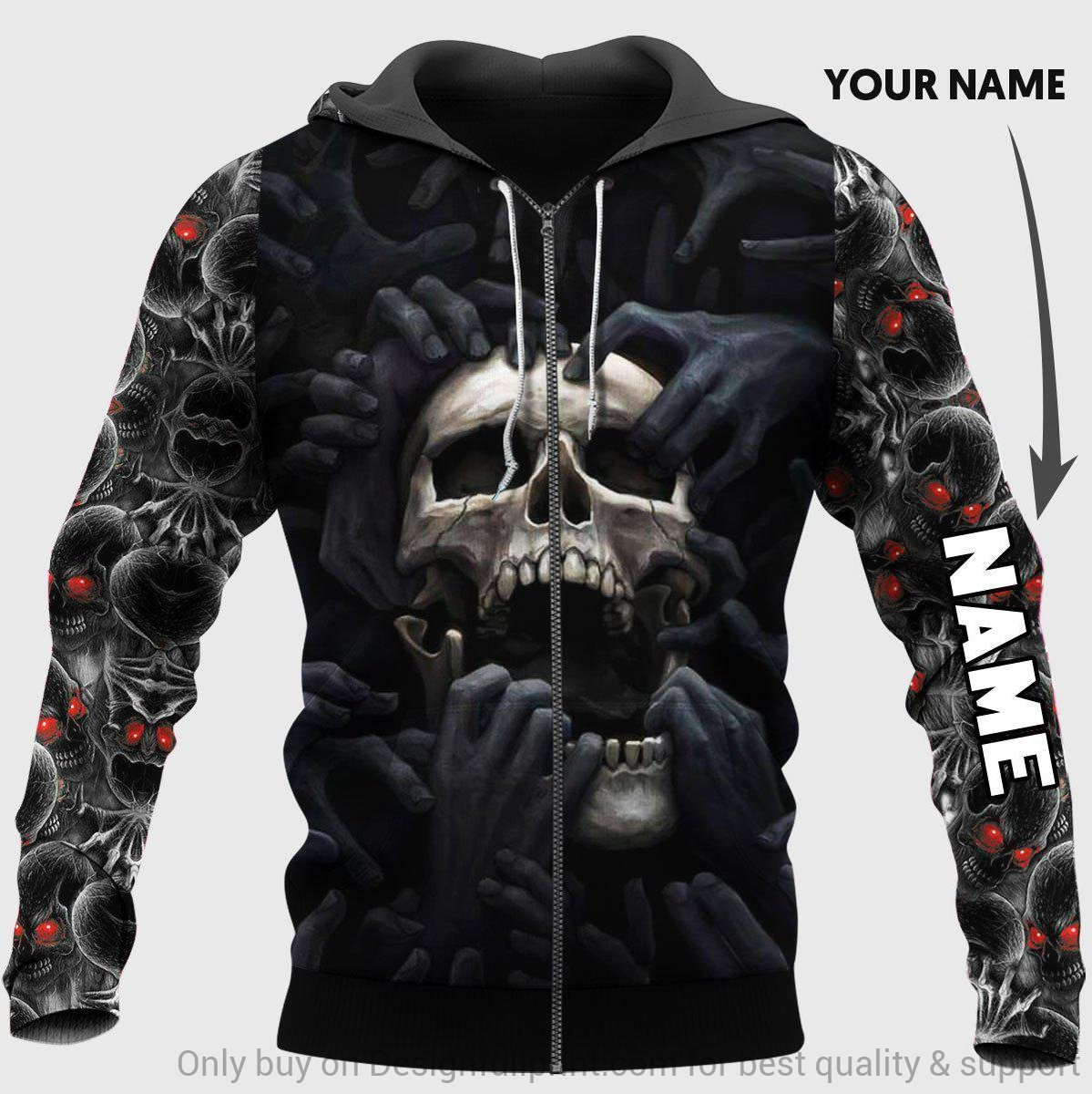 custom name skull red eyes screaming full over printed zip hoodie