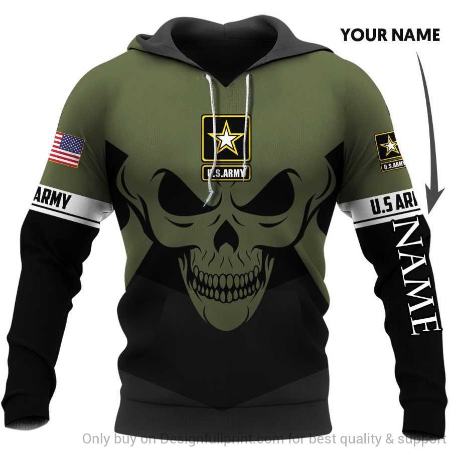 custom name skull the united states army full over printed hoodie