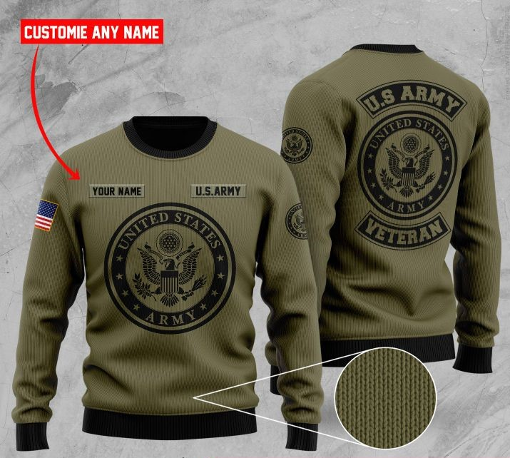 custom name united states army veteran ugly sweater 2 - Copy