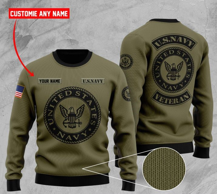 custom name united states navy veteran ugly sweater 2