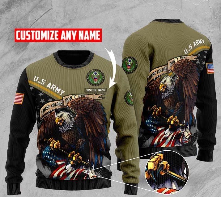 custom name us army bald eagle american flag ugly sweater 2