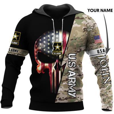 custom name us army skull american flag camo full over printed hoodie