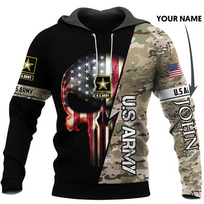 custom name us army skull american flag camo full over printed shirt 2