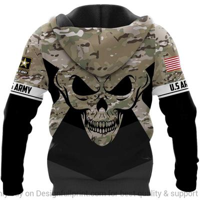 custom name us army skull camo full over printed hoodie