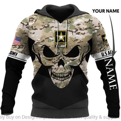 custom name us army skull camo full over printed shirt 3