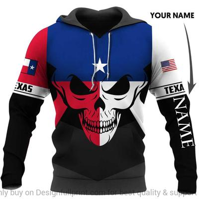 custom name us army skull texas flag all over printed hoodie
