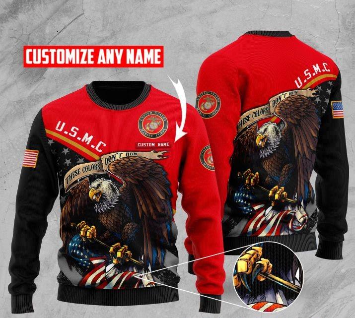 custom name us marine corps bald eagle american flag ugly sweater 2