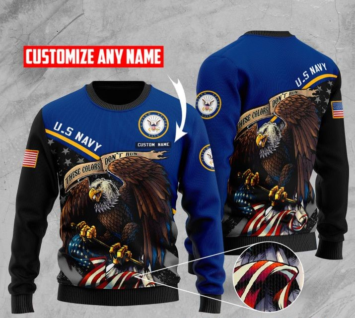 custom name us navy bald eagle american flag ugly sweater 2