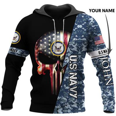 custom name us navy skull american flag camo full over printed hoodie