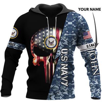 custom name us navy skull american flag camo full over printed shirt 3