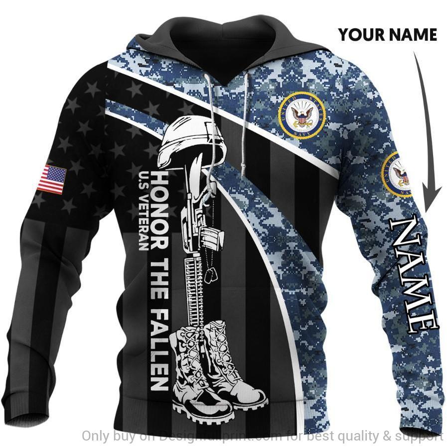 custom name veteran us navy honor the fallen camo full over printed hoodie