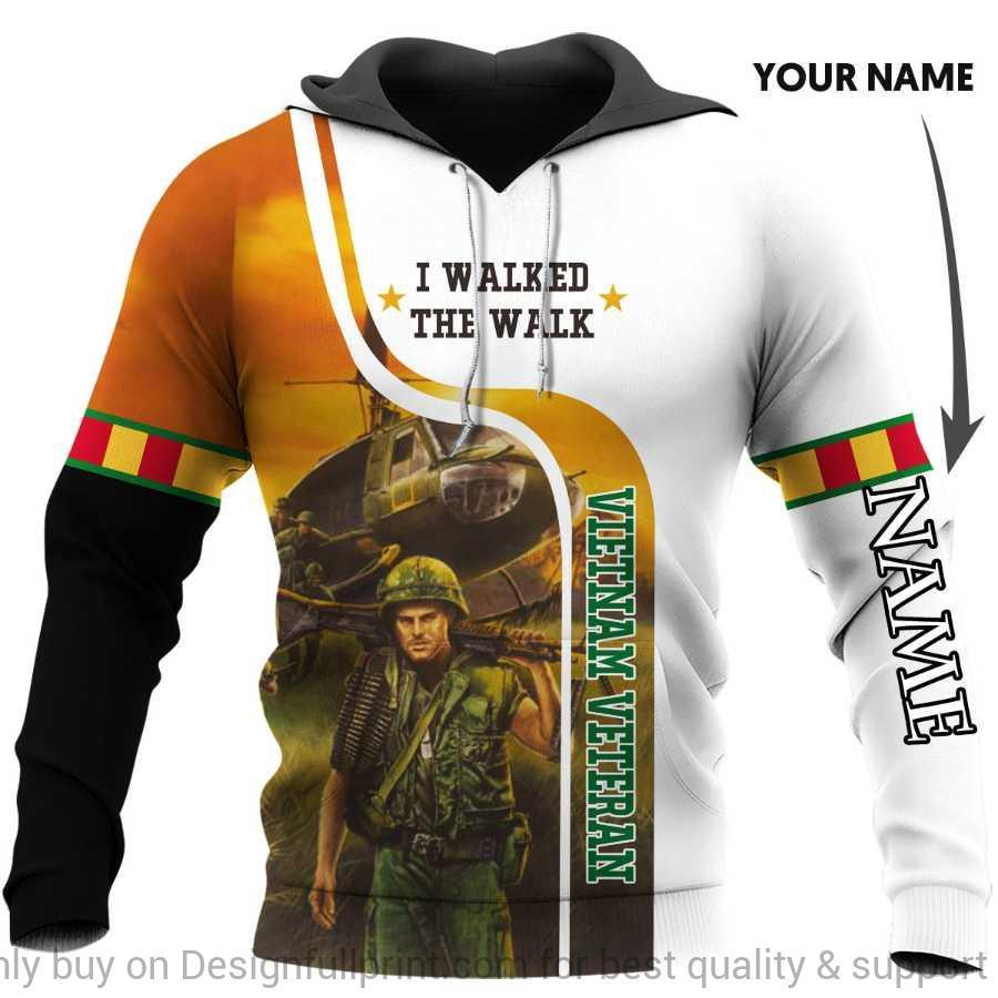 custom name vietnam veteran i walked the walk full over printed hoodie