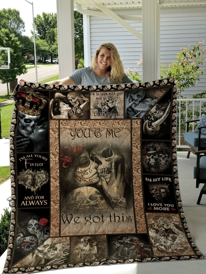 custome name skull couple you and me we got this quilt 3
