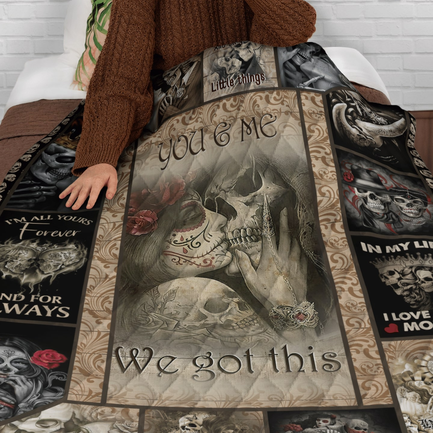 custome name skull couple you and me we got this quilt 5