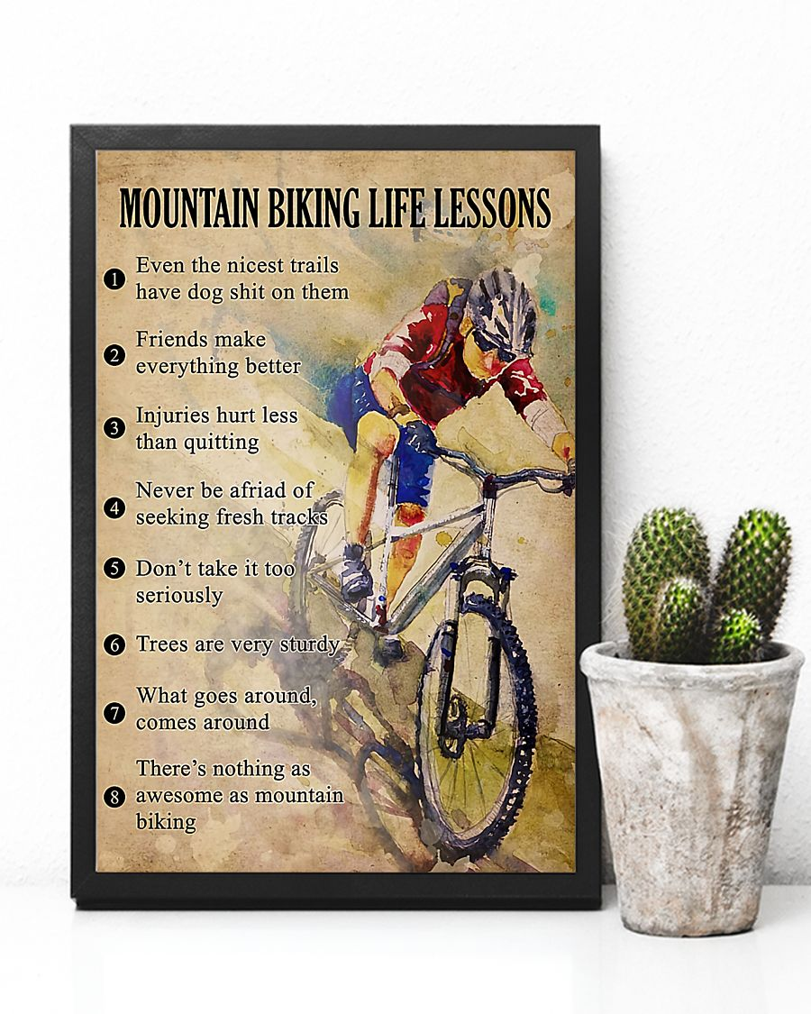 cycling mountain biking life lessons vintage poster 1