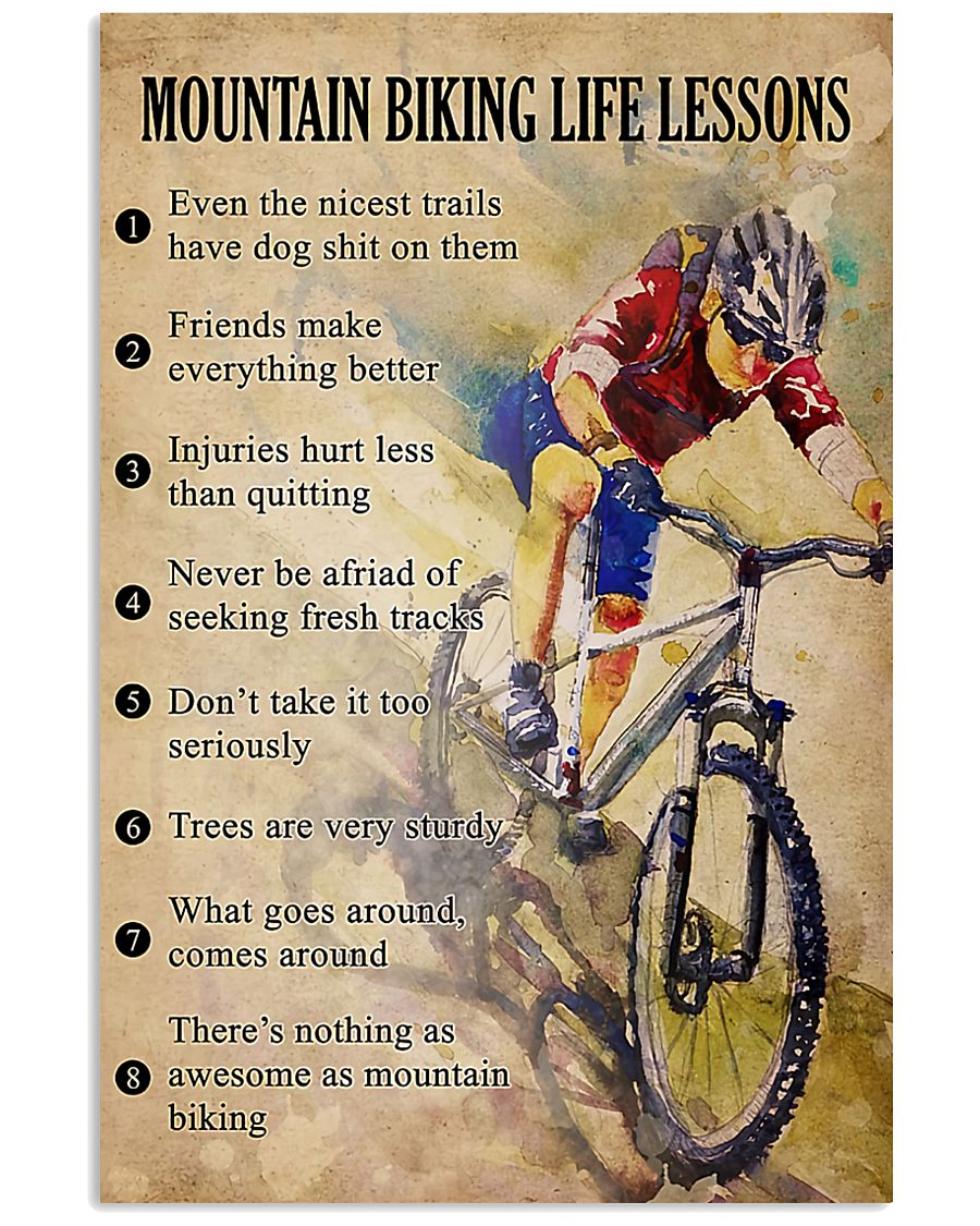 cycling mountain biking life lessons vintage poster 2