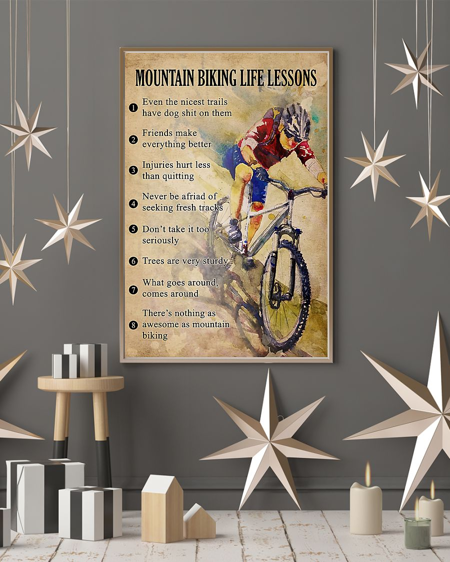 cycling mountain biking life lessons vintage poster 3