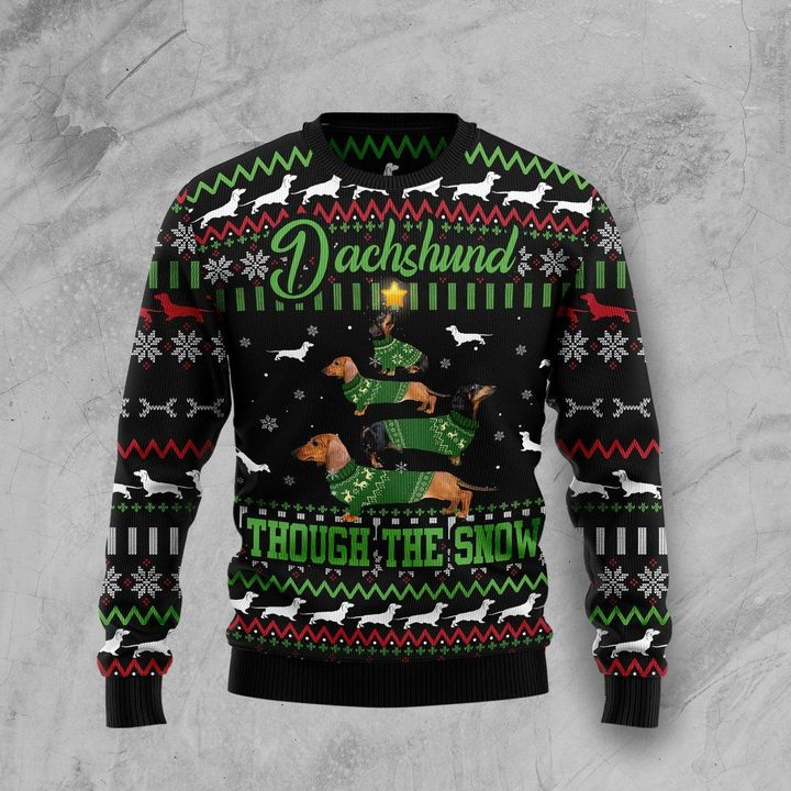 dachshund though the snow full printing christmas sweater 3