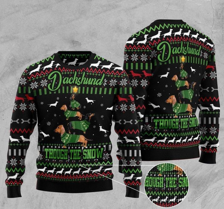 dachshund though the snow full printing christmas sweater 4