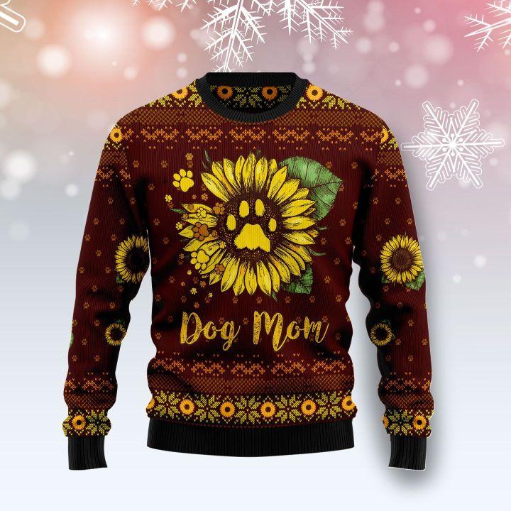 dog mom sunflower full printing ugly sweater 3