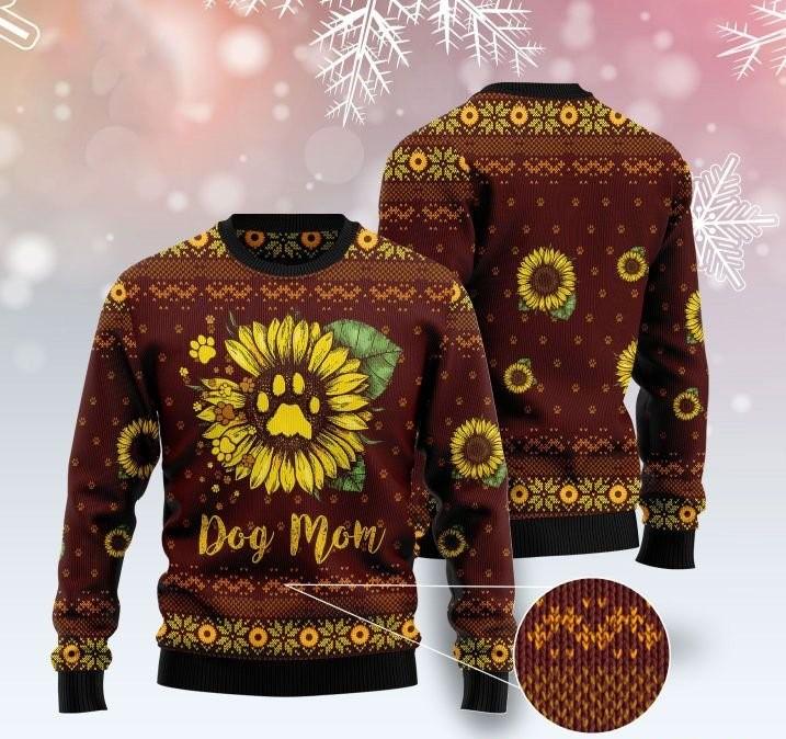 dog mom sunflower full printing ugly sweater 4