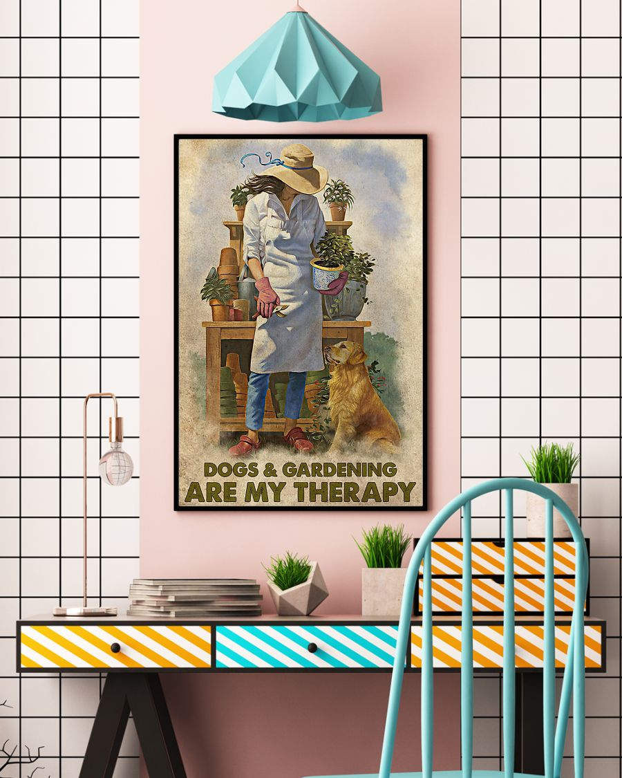 dogs and gardening are my therapy vintage poster 4
