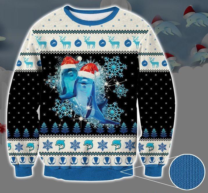 dolphin snowflake full printing christmas sweater 2