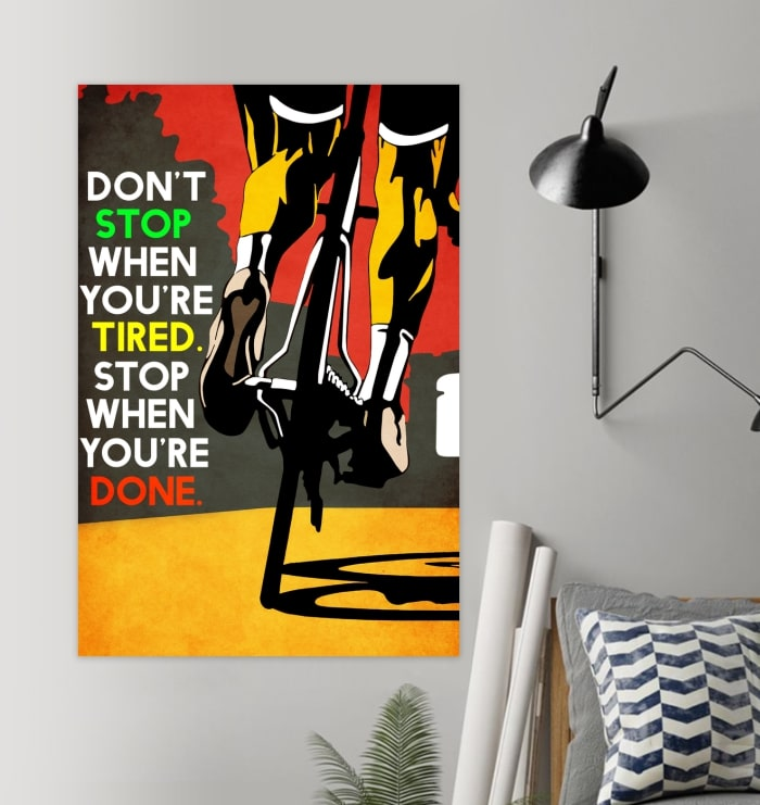 dont stop when youre tired stop when youre done cycling vintage poster 2