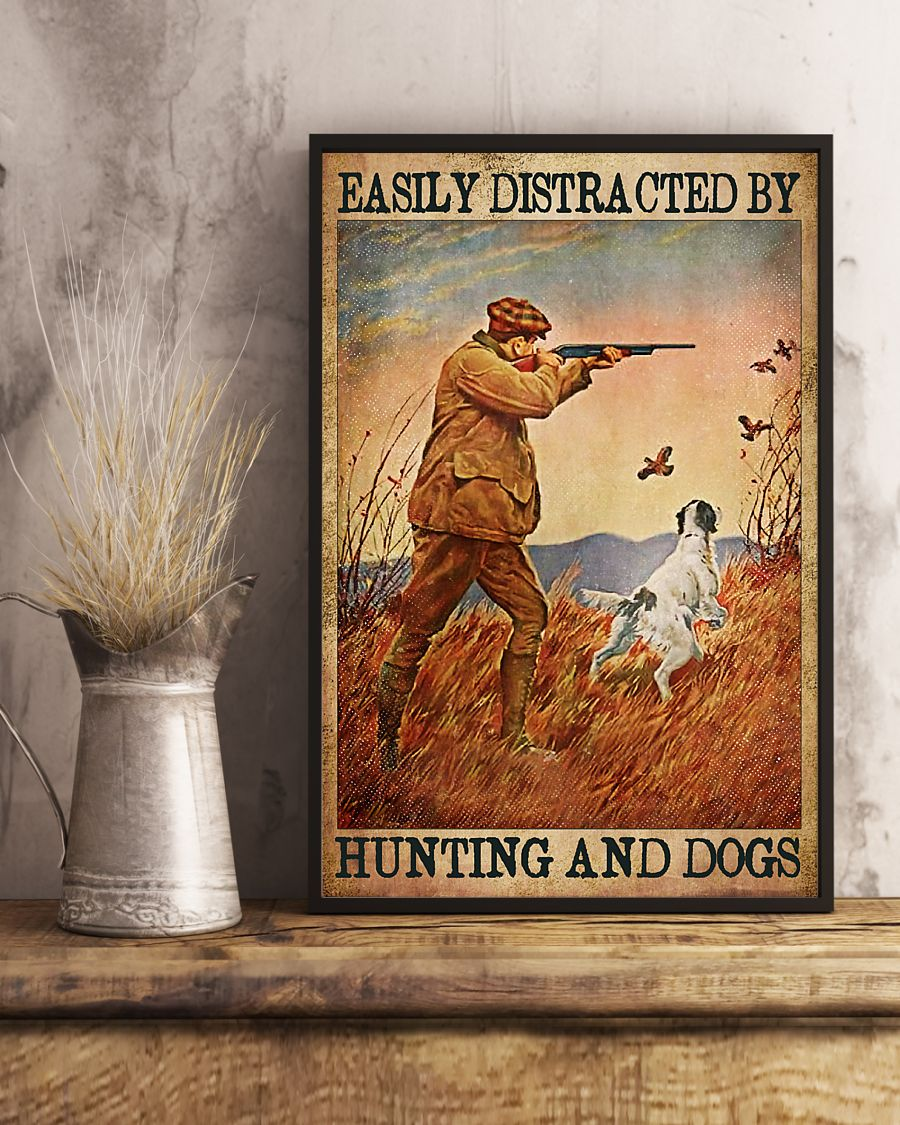 easily distracted by hunting and dogs vintage poster 3
