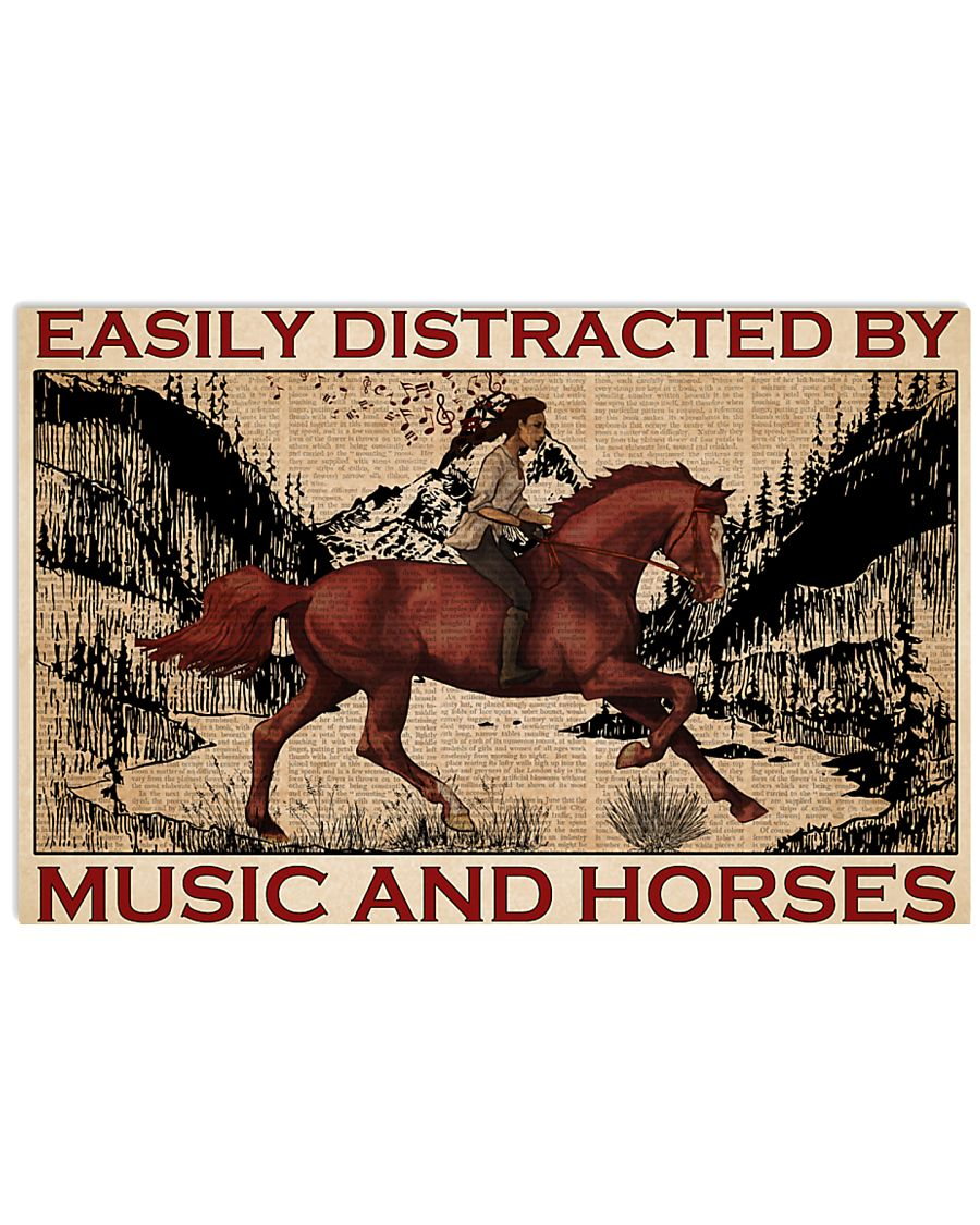 easily distracted by music and horses vintage poster 1