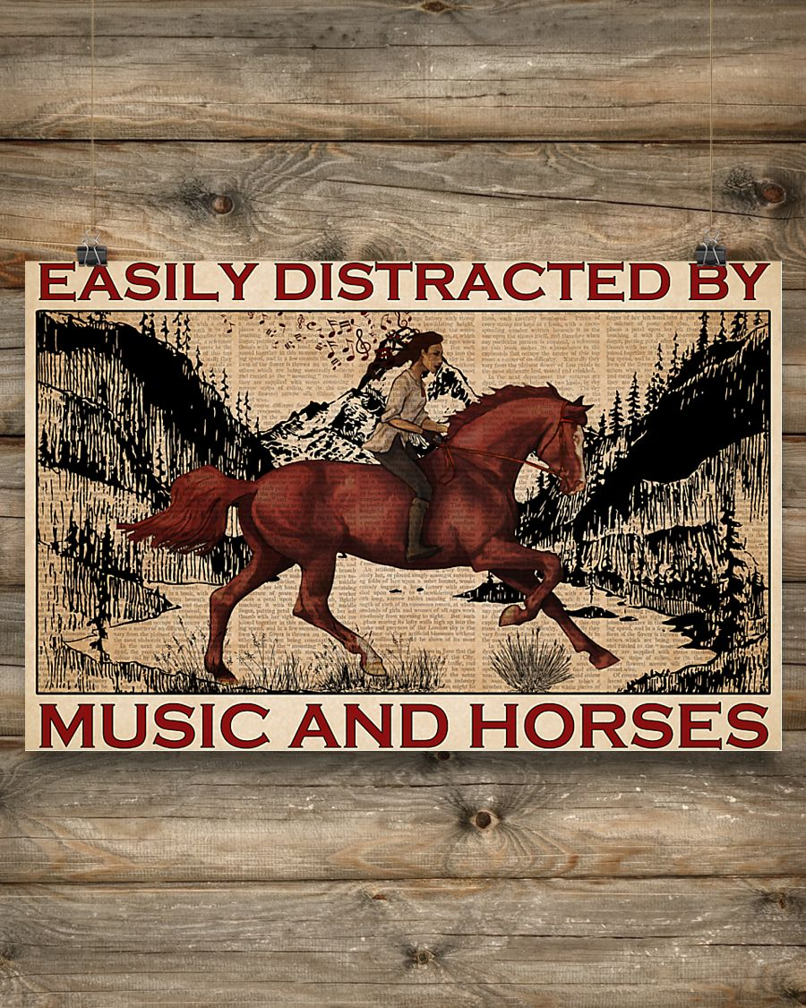 easily distracted by music and horses vintage poster 2
