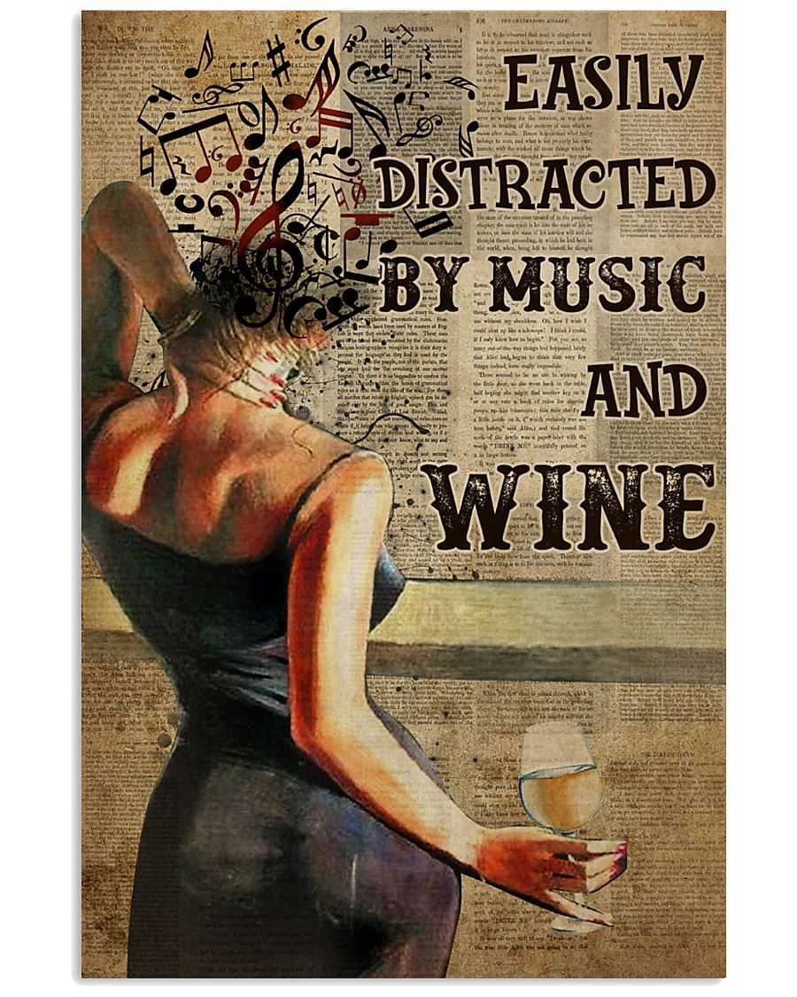 easily distracted by music and white wine book page vintage poster 1