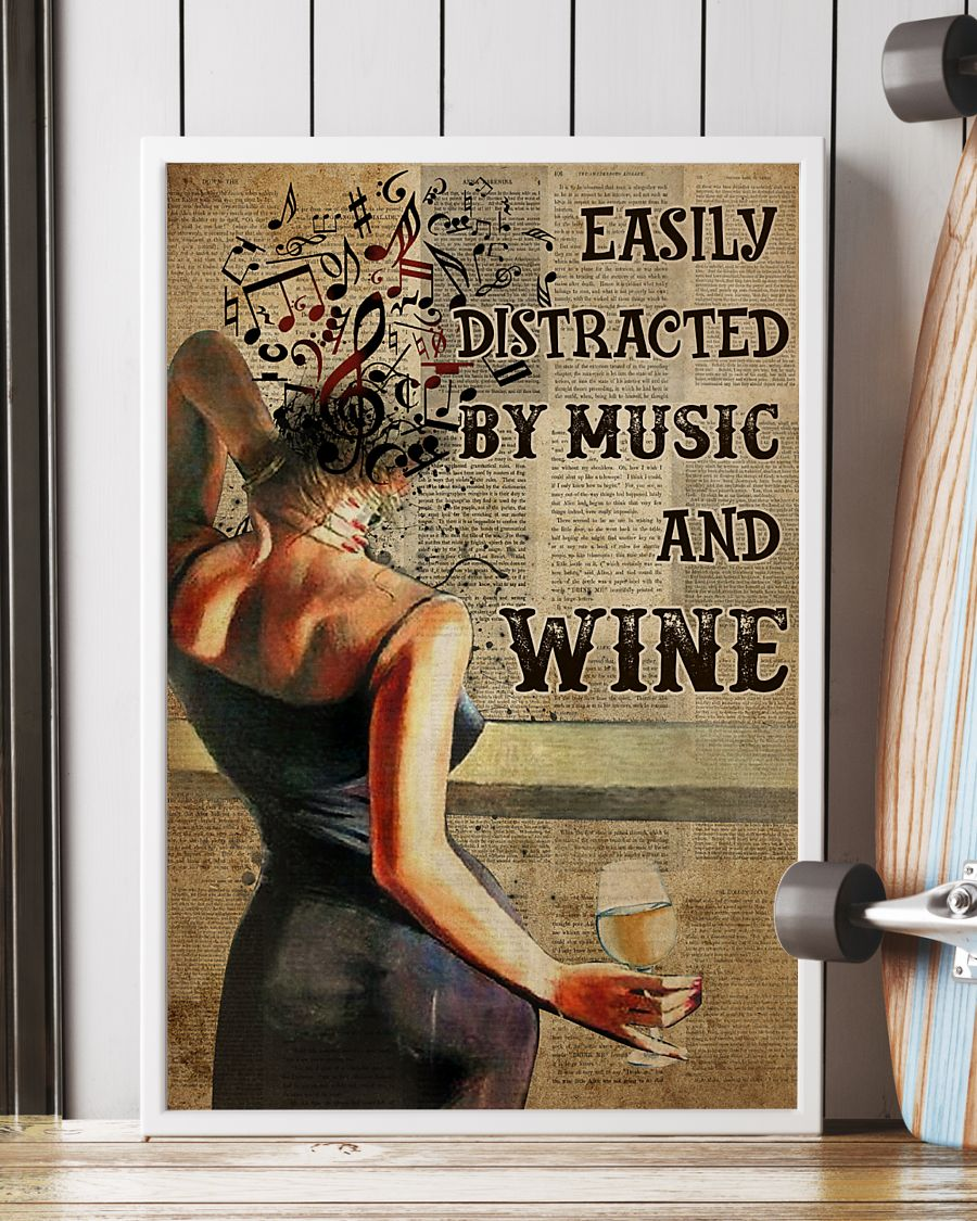 easily distracted by music and white wine book page vintage poster 2