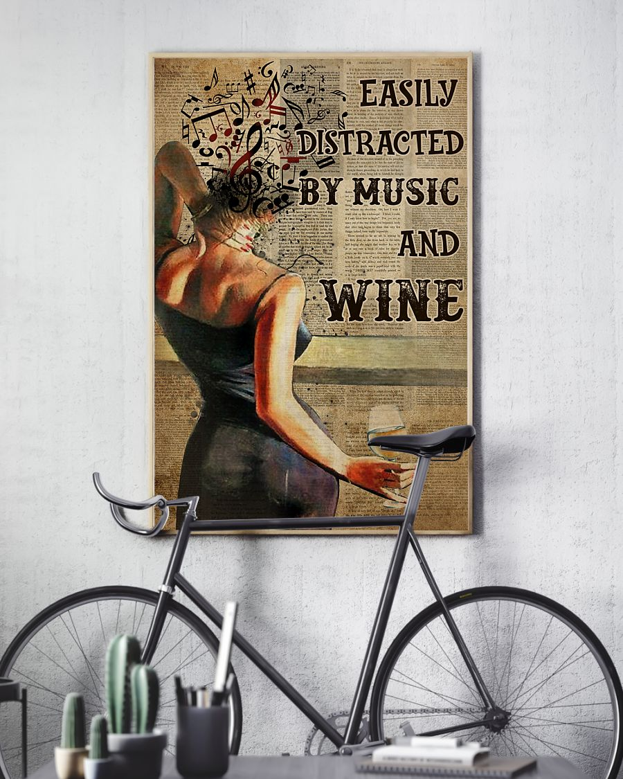 easily distracted by music and white wine book page vintage poster 3